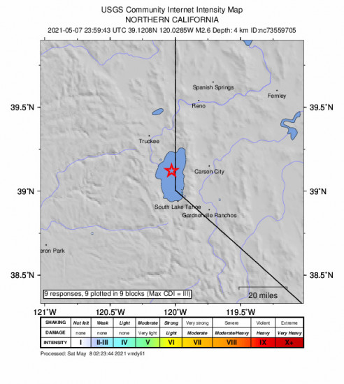 GEO Community Internet Intensity Map for the Dollar Point, Ca 2.6m Earthquake, Friday May. 07 2021, 4:59:43 PM