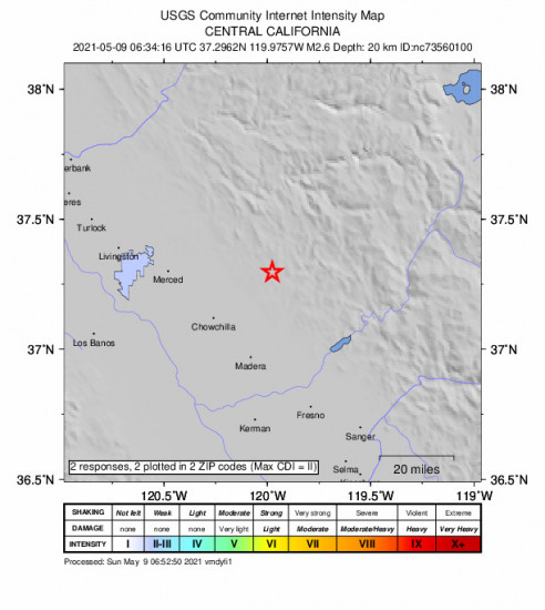 Community Internet Intensity Map for the Bootjack, Ca 2.56m Earthquake, Saturday May. 08 2021, 11:34:16 PM