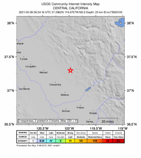 GEO Community Internet Intensity Map for the Bootjack, Ca 2.56m Earthquake, Saturday May. 08 2021, 11:34:16 PM