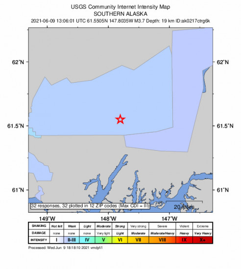 Community Internet Intensity Map for the Glacier View, Alaska 3.7m Earthquake, Wednesday Jun. 09 2021, 5:06:01 AM