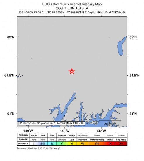 GEO Community Internet Intensity Map for the Glacier View, Alaska 3.7m Earthquake, Wednesday Jun. 09 2021, 5:06:01 AM