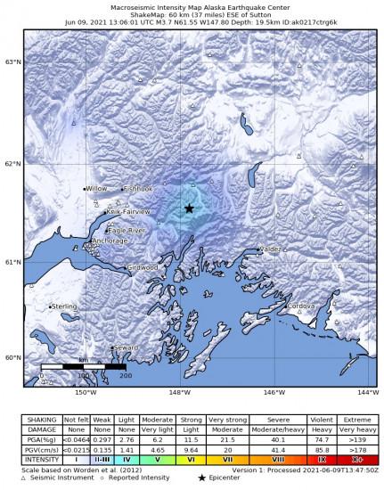Macroseismic Intensity Map for the Glacier View, Alaska 3.7m Earthquake, Wednesday Jun. 09 2021, 5:06:01 AM