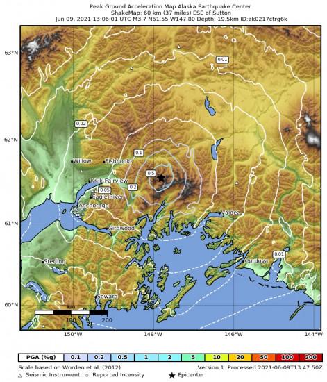 Peak Ground Acceleration Map for the Glacier View, Alaska 3.7m Earthquake, Wednesday Jun. 09 2021, 5:06:01 AM