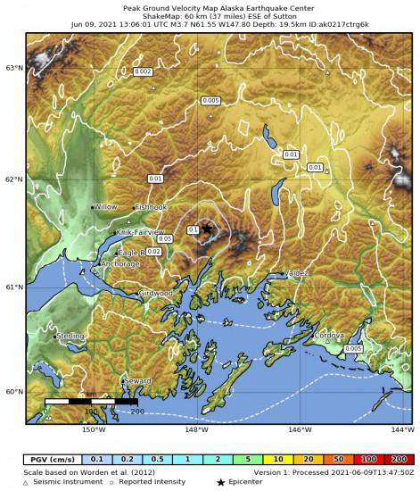 Peak Ground Velocity Map for the Glacier View, Alaska 3.7m Earthquake, Wednesday Jun. 09 2021, 5:06:01 AM