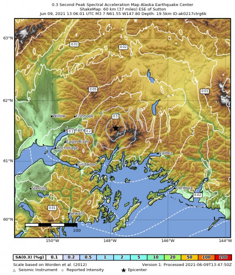 0.3 Second Peak Spectral Acceleration Map for the Glacier View, Alaska 3.7m Earthquake, Wednesday Jun. 09 2021, 5:06:01 AM