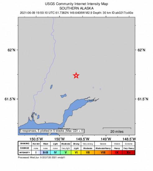 GEO Community Internet Intensity Map for the Meadow Lakes, Alaska 2.9m Earthquake, Wednesday Jun. 09 2021, 11:50:10 AM