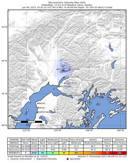 Macroseismic Intensity Map for the Meadow Lakes, Alaska 2.9m Earthquake, Wednesday Jun. 09 2021, 11:50:10 AM