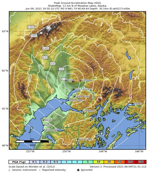 Peak Ground Acceleration Map for the Meadow Lakes, Alaska 2.9m Earthquake, Wednesday Jun. 09 2021, 11:50:10 AM