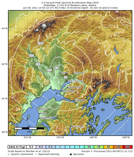 0.3 Second Peak Spectral Acceleration Map for the Meadow Lakes, Alaska 2.9m Earthquake, Wednesday Jun. 09 2021, 11:50:10 AM