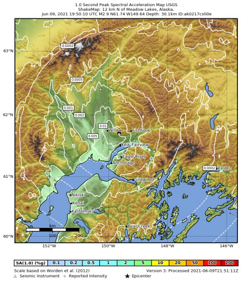 1 Second Peak Spectral Acceleration Map for the Meadow Lakes, Alaska 2.9m Earthquake, Wednesday Jun. 09 2021, 11:50:10 AM