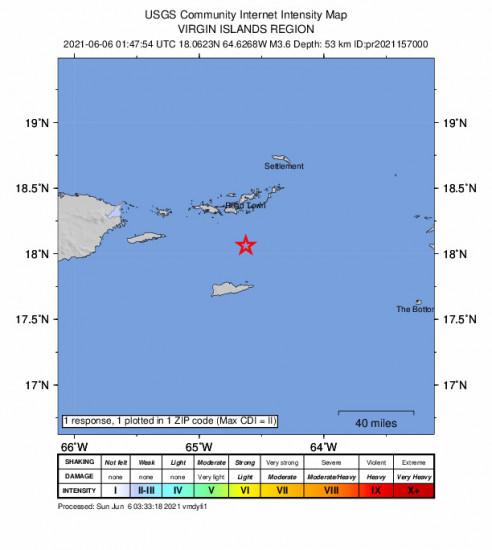 Community Internet Intensity Map for the Cruz Bay, U.s. Virgin Islands 3.59m Earthquake, Saturday Jun. 05 2021, 9:47:54 PM
