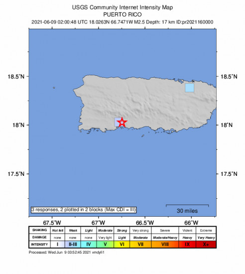 GEO Community Internet Intensity Map for the Magas Arriba, Puerto Rico 2.5m Earthquake, Tuesday Jun. 08 2021, 10:00:48 PM