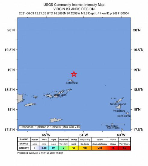 GEO Community Internet Intensity Map for the Cruz Bay, U.s. Virgin Islands 3.82m Earthquake, Wednesday Jun. 09 2021, 8:21:35 AM