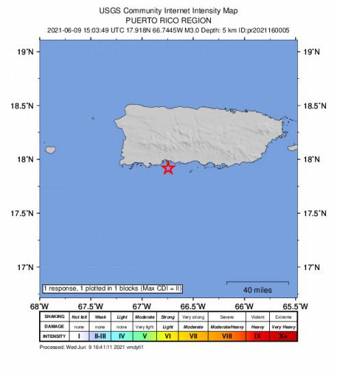 GEO Community Internet Intensity Map for the Tallaboa, Puerto Rico 3m Earthquake, Wednesday Jun. 09 2021, 11:03:49 AM