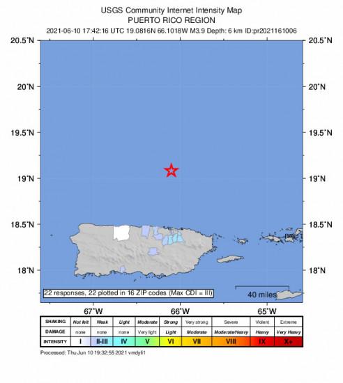 Community Internet Intensity Map for the San Juan, Puerto Rico 3.87m Earthquake, Thursday Jun. 10 2021, 1:42:16 PM