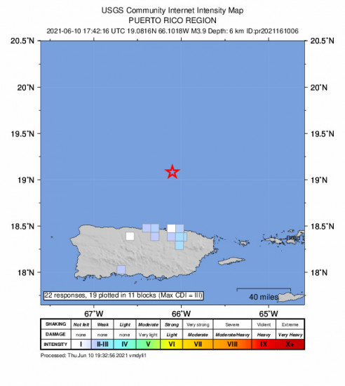 GEO Community Internet Intensity Map for the San Juan, Puerto Rico 3.87m Earthquake, Thursday Jun. 10 2021, 1:42:16 PM