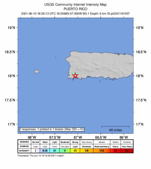 GEO Community Internet Intensity Map for the La Parguera, Puerto Rico 3.07m Earthquake, Thursday Jun. 10 2021, 2:38:13 PM