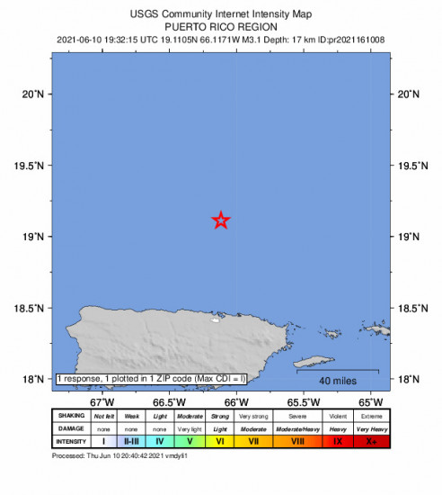 Community Internet Intensity Map for the San Juan, Puerto Rico 3.1m Earthquake, Thursday Jun. 10 2021, 3:32:15 PM