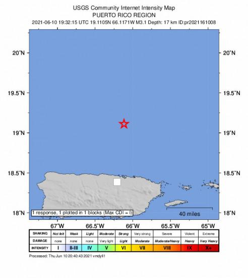 GEO Community Internet Intensity Map for the San Juan, Puerto Rico 3.1m Earthquake, Thursday Jun. 10 2021, 3:32:15 PM