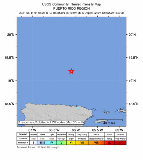 Community Internet Intensity Map for the San Juan, Puerto Rico 3.49m Earthquake, Thursday Jun. 10 2021, 9:05:25 PM