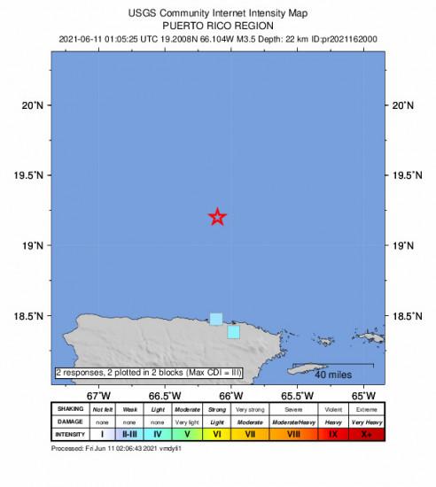 GEO Community Internet Intensity Map for the San Juan, Puerto Rico 3.49m Earthquake, Thursday Jun. 10 2021, 9:05:25 PM