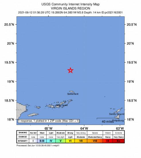 Community Internet Intensity Map for the Cruz Bay, U.s. Virgin Islands 3.76m Earthquake, Friday Jun. 11 2021, 9:56:28 PM