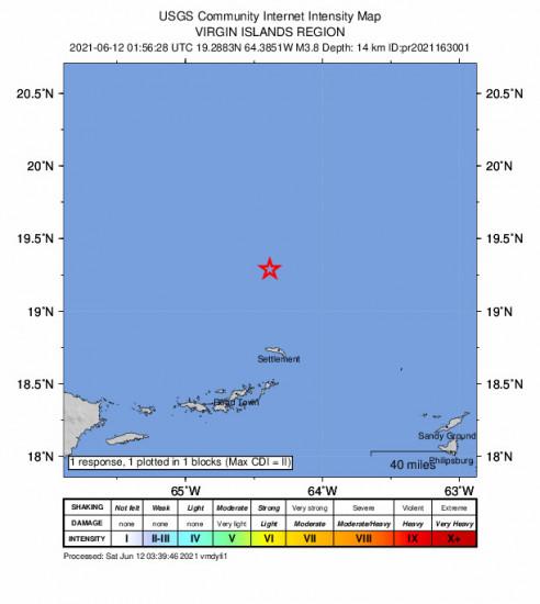 GEO Community Internet Intensity Map for the Cruz Bay, U.s. Virgin Islands 3.76m Earthquake, Friday Jun. 11 2021, 9:56:28 PM