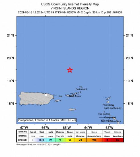 GEO Community Internet Intensity Map for the Charlotte Amalie, U.s. Virgin Islands 4.24m Earthquake, Wednesday Jun. 16 2021, 8:52:34 AM