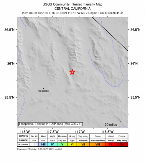 Community Internet Intensity Map for the Trona, Ca 2.67m Earthquake, Wednesday Jun. 09 2021, 6:51:36 AM