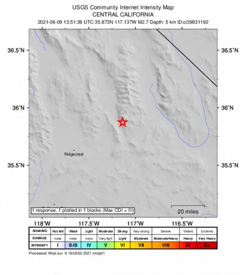 GEO Community Internet Intensity Map for the Trona, Ca 2.67m Earthquake, Wednesday Jun. 09 2021, 6:51:36 AM