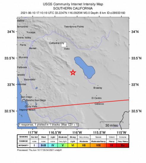 GEO Community Internet Intensity Map for the Ocotillo Wells, Ca 3.03m Earthquake, Thursday Jun. 10 2021, 10:10:19 AM