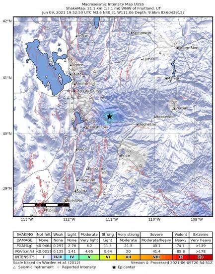 Macroseismic Intensity Map for the Independence, Utah 3.65m Earthquake, Wednesday Jun. 09 2021, 1:52:50 PM
