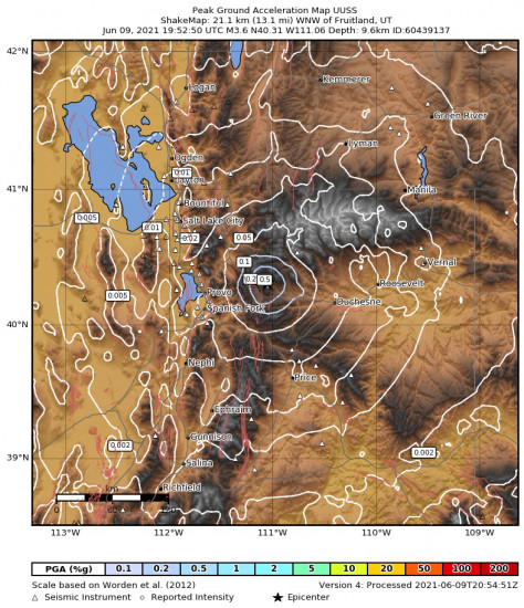 Peak Ground Acceleration Map for the Independence, Utah 3.65m Earthquake, Wednesday Jun. 09 2021, 1:52:50 PM