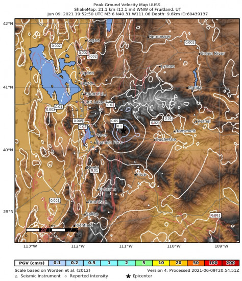 Peak Ground Velocity Map for the Independence, Utah 3.65m Earthquake, Wednesday Jun. 09 2021, 1:52:50 PM