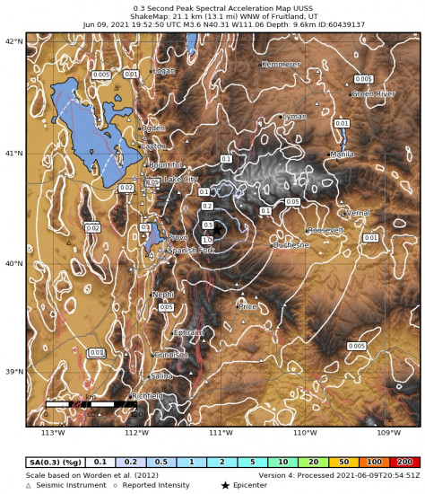 0.3 Second Peak Spectral Acceleration Map for the Independence, Utah 3.65m Earthquake, Wednesday Jun. 09 2021, 1:52:50 PM