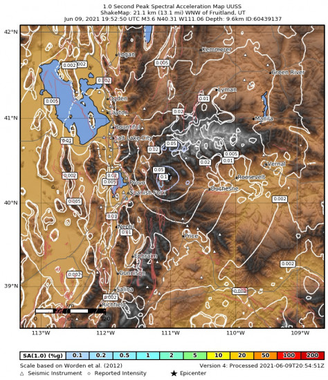 1 Second Peak Spectral Acceleration Map for the Independence, Utah 3.65m Earthquake, Wednesday Jun. 09 2021, 1:52:50 PM