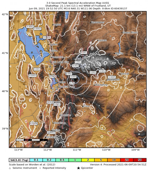 3 Second Peak Spectral Acceleration Map for the Independence, Utah 3.65m Earthquake, Wednesday Jun. 09 2021, 1:52:50 PM