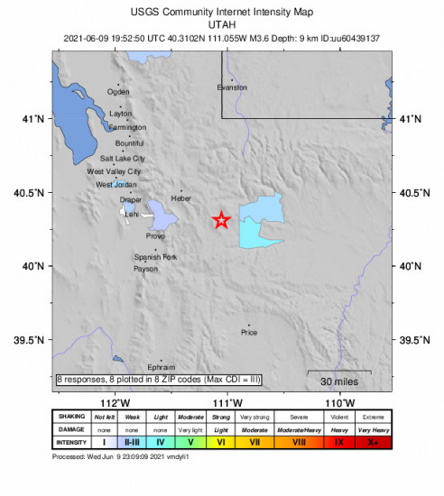 Community Internet Intensity Map for the Independence, Utah 3.65m Earthquake, Wednesday Jun. 09 2021, 1:52:50 PM