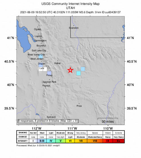 GEO Community Internet Intensity Map for the Independence, Utah 3.65m Earthquake, Wednesday Jun. 09 2021, 1:52:50 PM