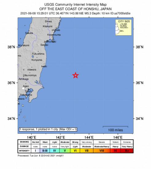 Community Internet Intensity Map for the Iwaki, Japan 5.3m Earthquake, Wednesday Jun. 09 2021, 12:29:01 AM