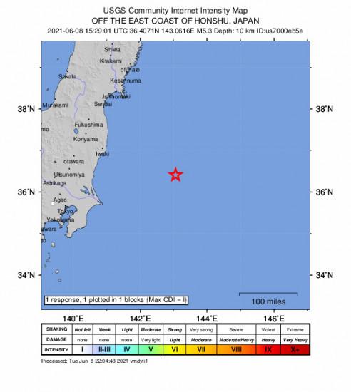 GEO Community Internet Intensity Map for the Iwaki, Japan 5.3m Earthquake, Wednesday Jun. 09 2021, 12:29:01 AM
