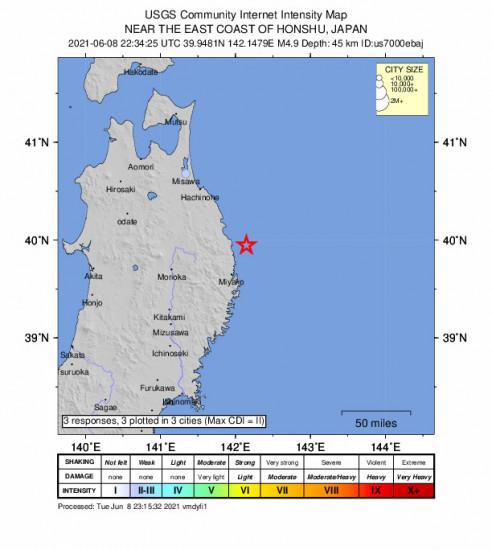 Community Internet Intensity Map for the Miyako, Japan 4.9m Earthquake, Wednesday Jun. 09 2021, 7:34:25 AM