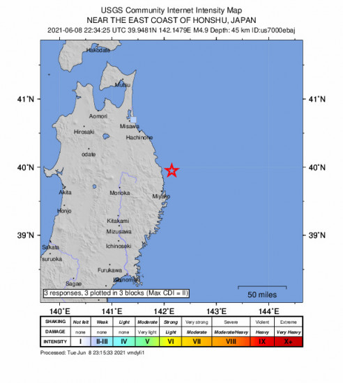 GEO Community Internet Intensity Map for the Miyako, Japan 4.9m Earthquake, Wednesday Jun. 09 2021, 7:34:25 AM