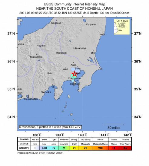 Community Internet Intensity Map for the Kawasaki, Japan 4.5m Earthquake, Wednesday Jun. 09 2021, 5:27:23 PM