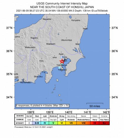 GEO Community Internet Intensity Map for the Kawasaki, Japan 4.5m Earthquake, Wednesday Jun. 09 2021, 5:27:23 PM