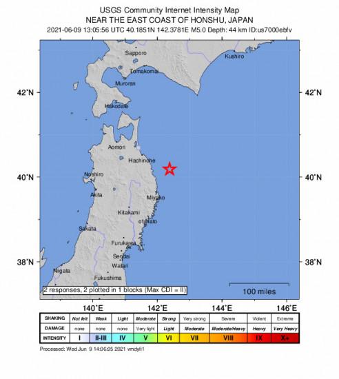 GEO Community Internet Intensity Map for the Miyako, Japan 5m Earthquake, Wednesday Jun. 09 2021, 10:05:56 PM