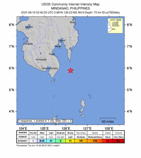 Community Internet Intensity Map for the Pondaguitan, Philippines 4.9m Earthquake, Thursday Jun. 10 2021, 10:42:25 AM