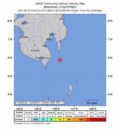 GEO Community Internet Intensity Map for the Pondaguitan, Philippines 4.9m Earthquake, Thursday Jun. 10 2021, 10:42:25 AM