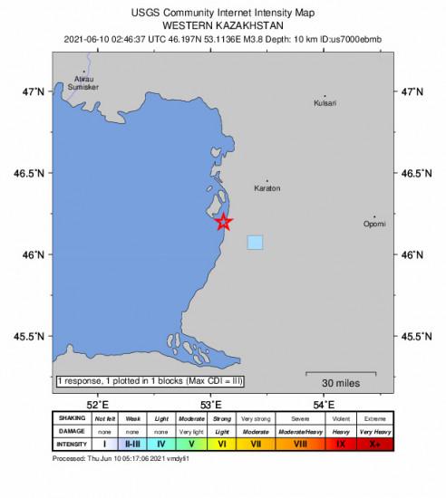 GEO Community Internet Intensity Map for the Karaton, Kazakhstan 3.8m Earthquake, Thursday Jun. 10 2021, 7:46:37 AM