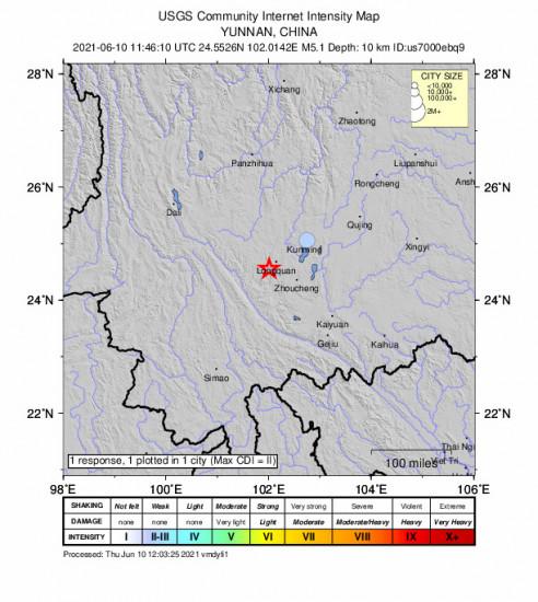 Community Internet Intensity Map for the Longquan, China 5.1m Earthquake, Thursday Jun. 10 2021, 7:46:10 PM